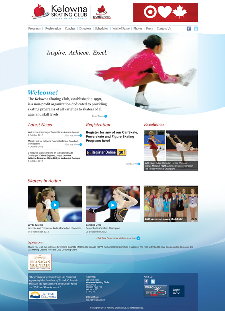 Kelowna Skating Club website homepage